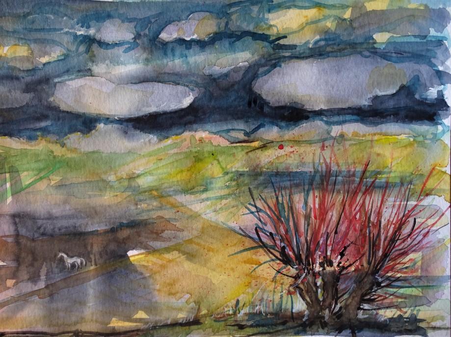 Landschaft-Rottal-Aquarell-Nadia-Baumgart
