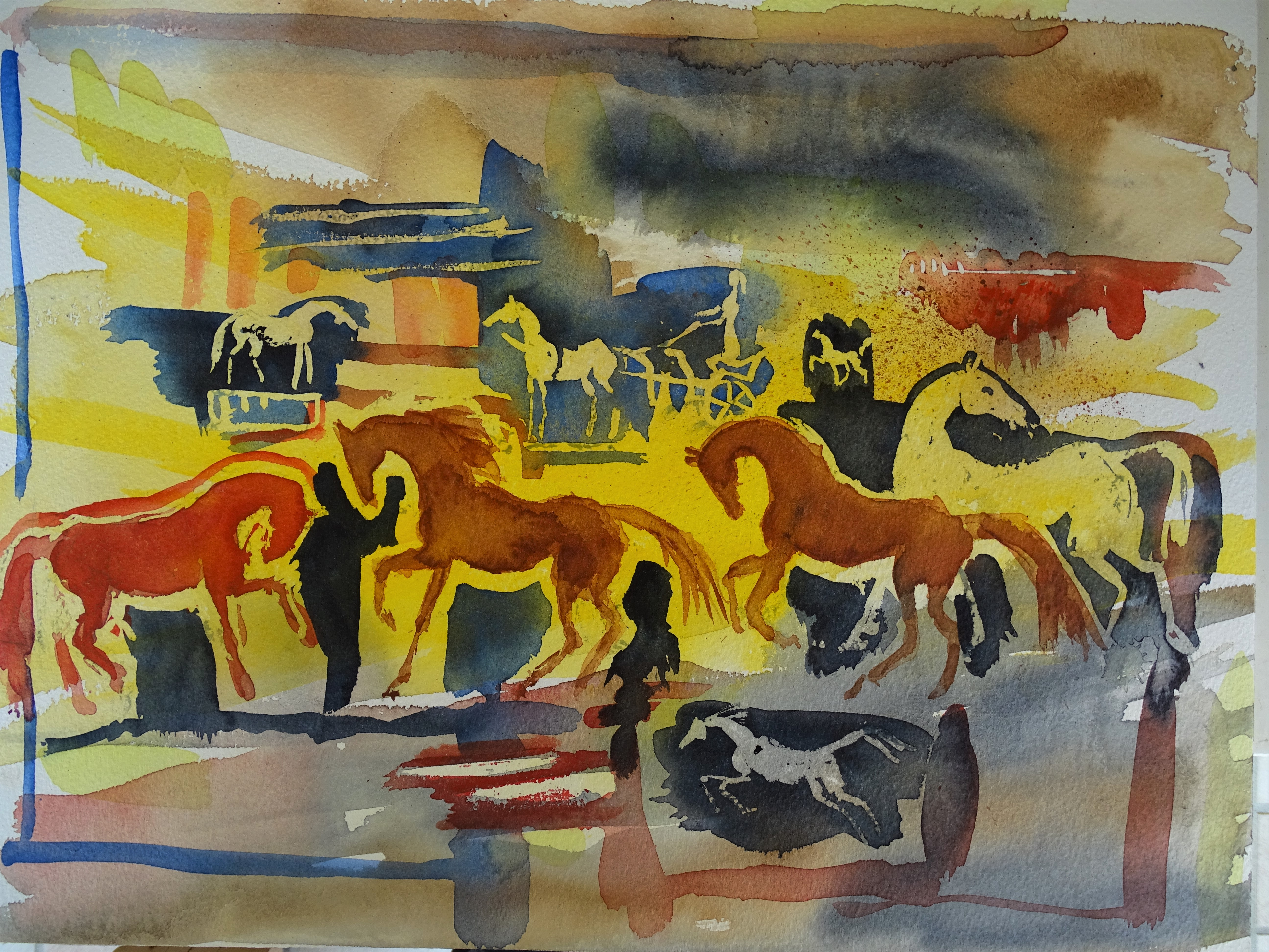 Pferde-Aquarelle-Nadia-Baumgart