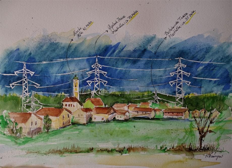 Stromtrasse-Tennet-Freileitung-Laendliches-Bad-Aquarell-Nadia-Baumgart