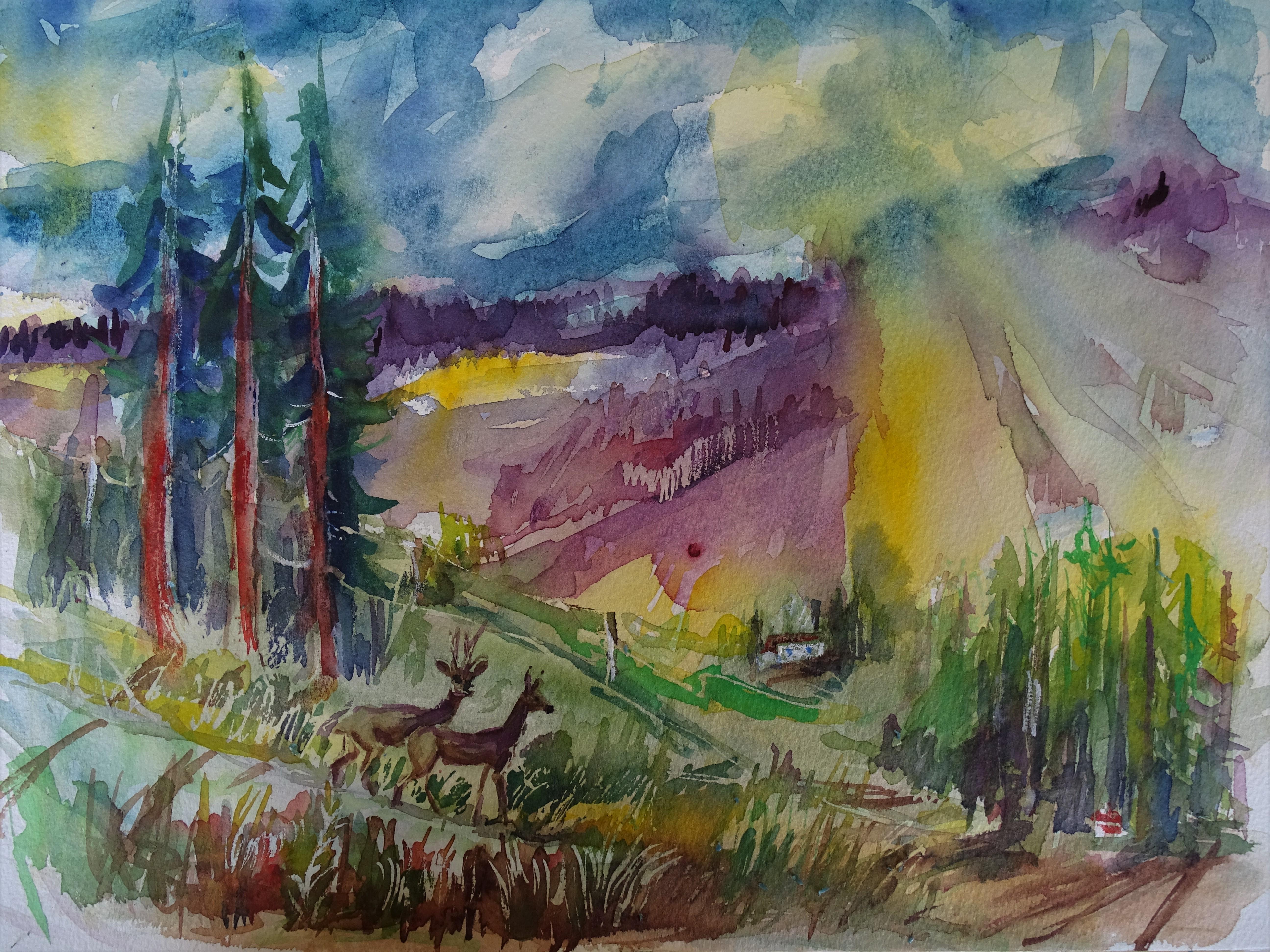 2-Bayerischer-Wald-Aquarelle-Nadia-Baumgart
