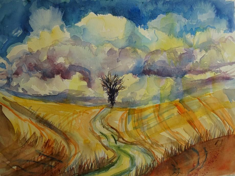 Gewitterstimmung-Aquarelle-Nadia-Baumgart