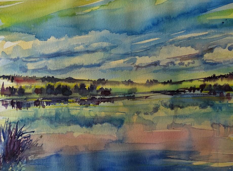 abend-am-see-postmünster-aquarell-malerei-nadia-baumgart