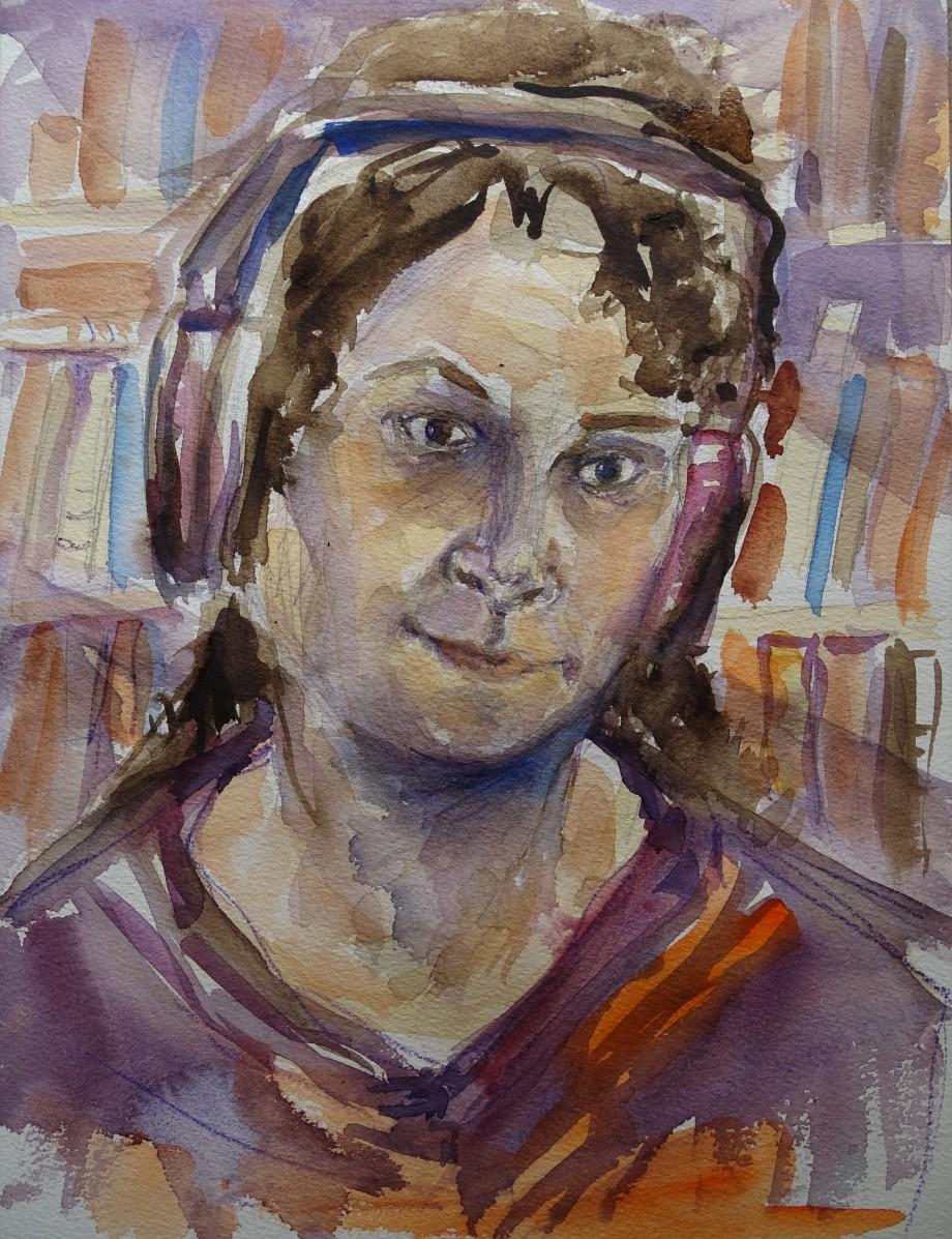 Selbstportrait-mit-Kopfhoerern-Malerei-Aquarell-Nadia-baumgart