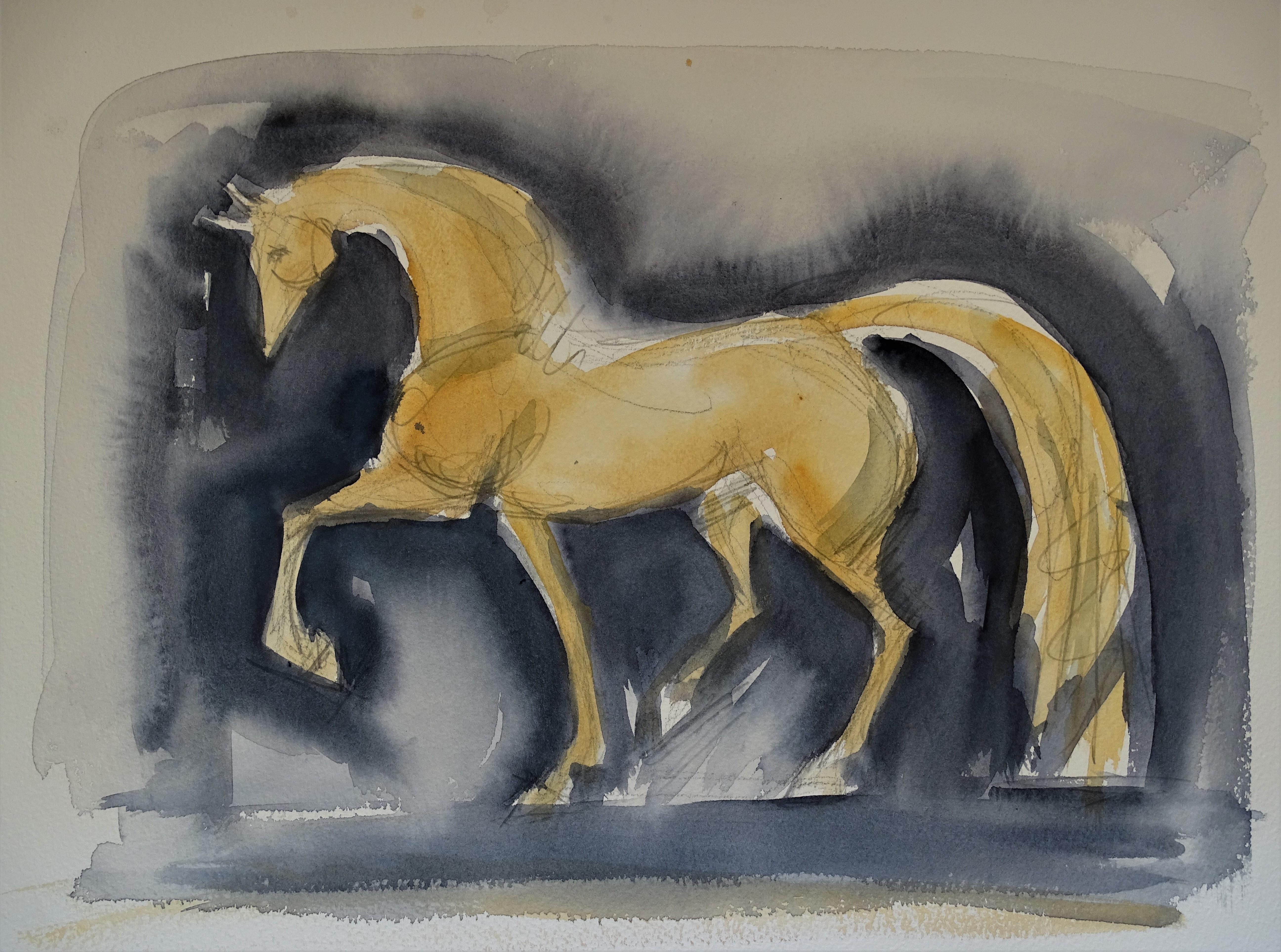 gelbes-Pferd-aquarelle-nadia-baumgart