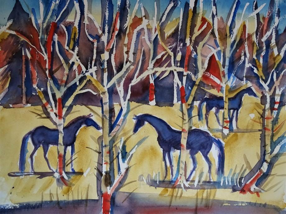 Pferde_Aquarell-Cavalli-Nadia_Baumgart