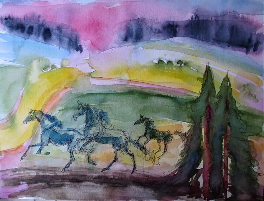 blaue-pferde-malerei-nadia-baumgart