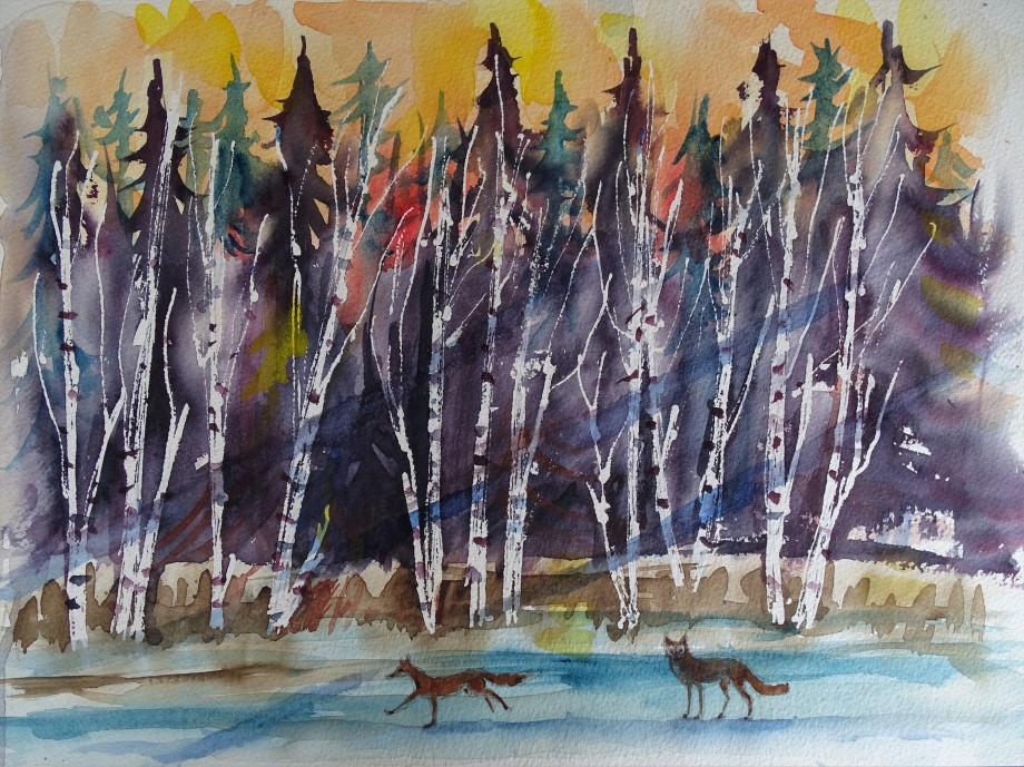 Wald-im-Winter-Aquarelle_Malerei_Nadia_Baumgart