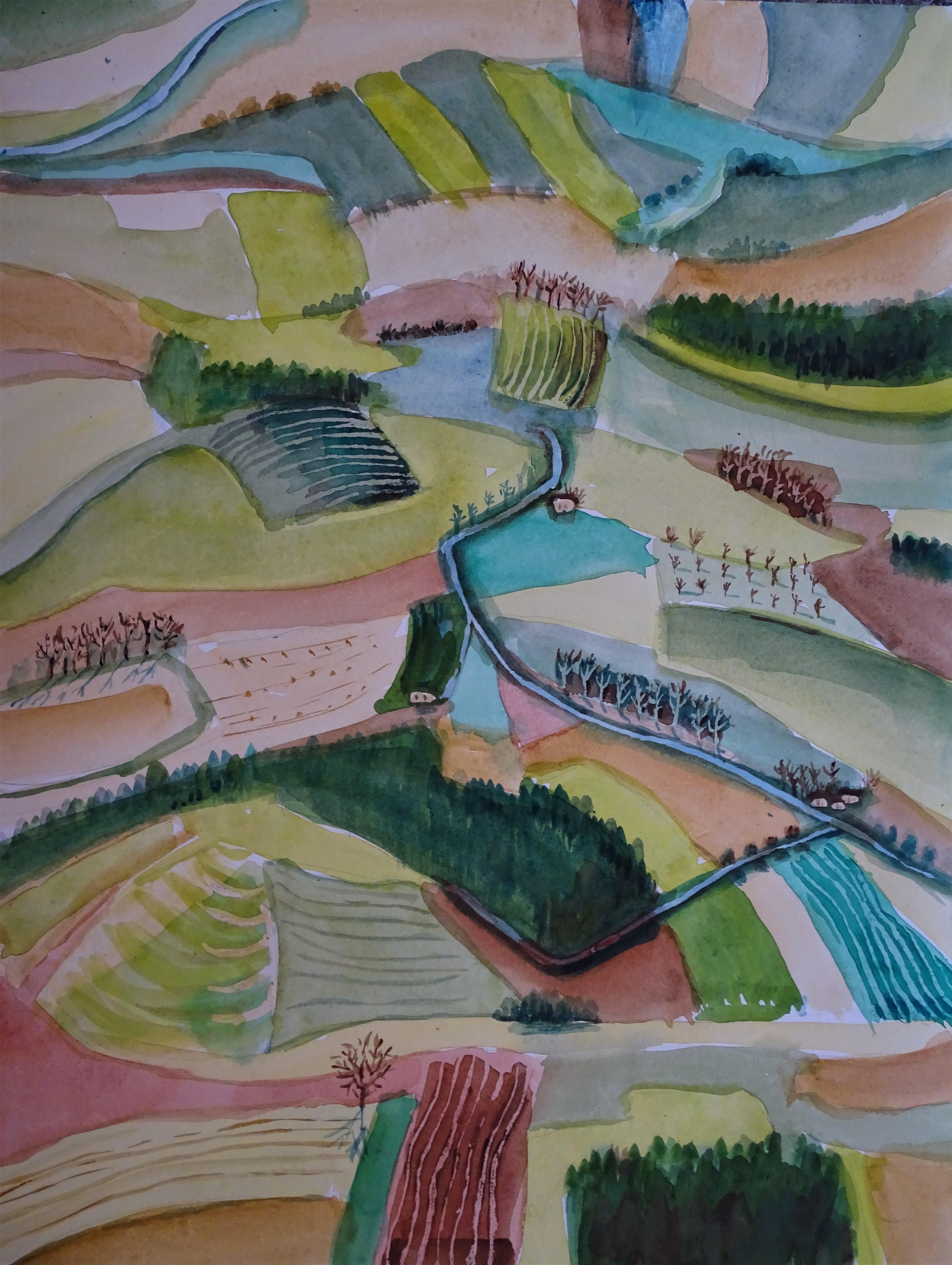 Rottaler Landschaft - Aquarell von Nadia Baumgart