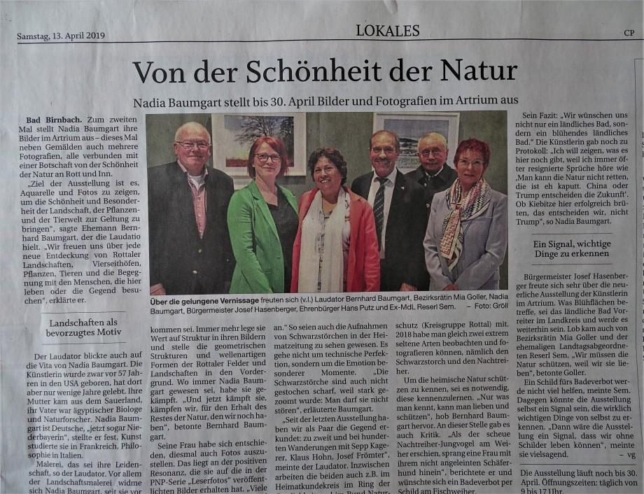 Ausstellung von Nadia Baumgart in Bad Birnbach - Aquarelle und Naturfotografie