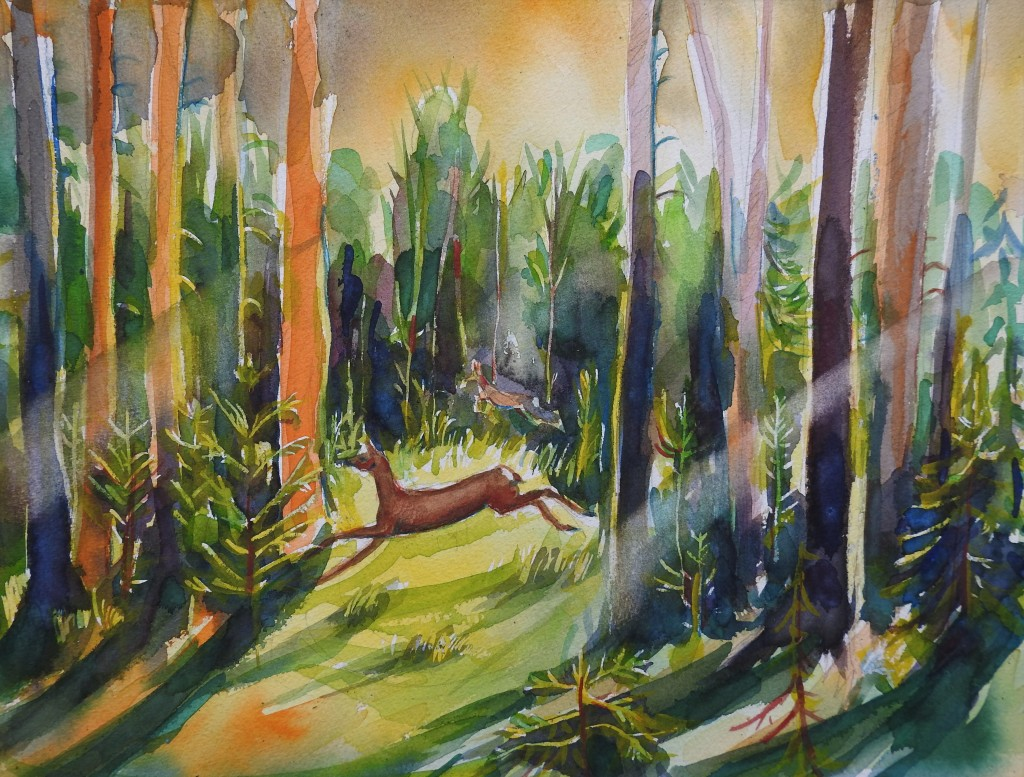 Rehe im Wald - Aquarell