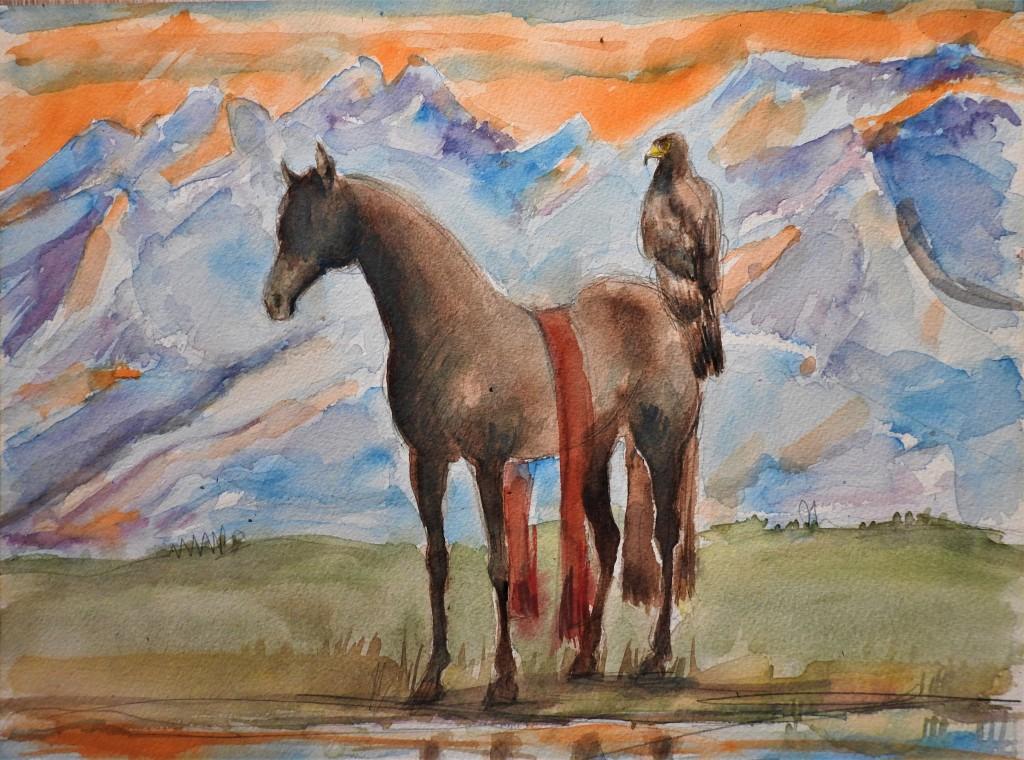 Pferd und Adler - Aquarelle von Nadia Baumgart