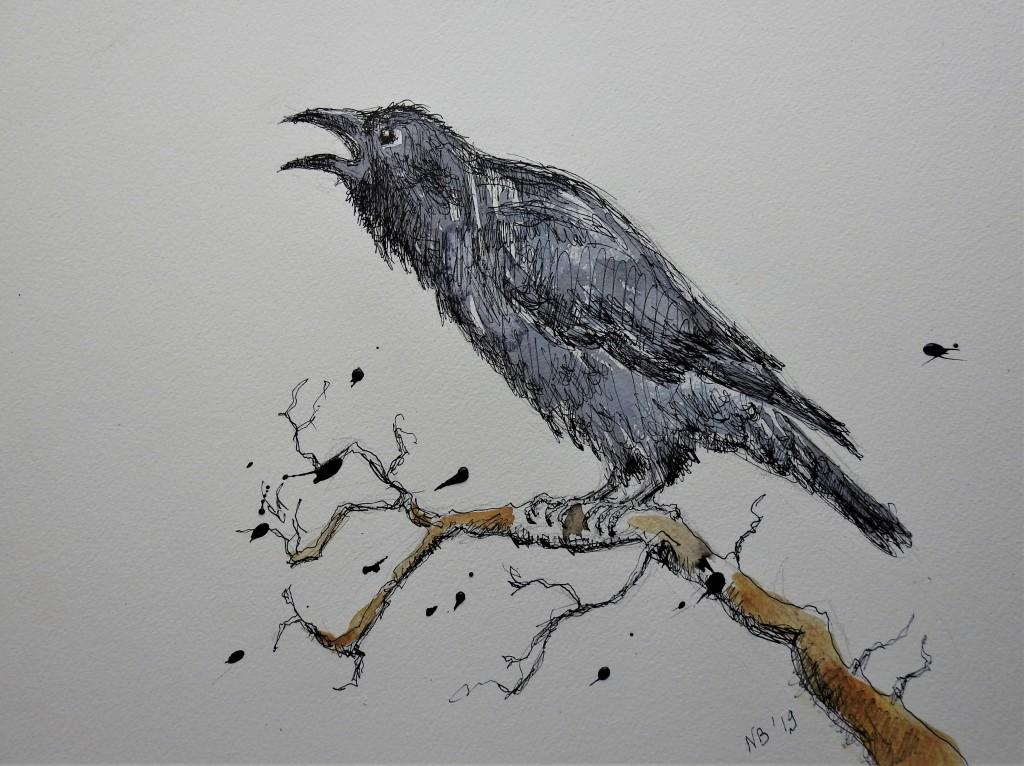 Rabenkrähe im Winter - Tuschezeichnung - Illustration