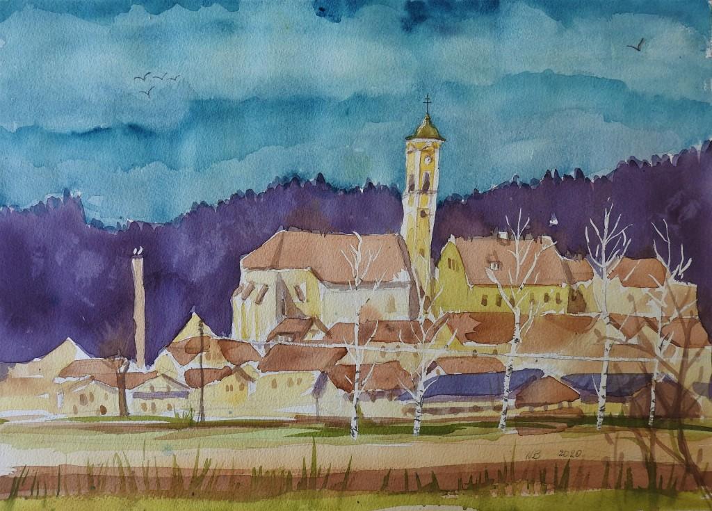 Bad Birnbach im März - Aquarelle