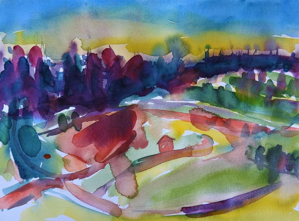 Rottaler Landschaft - aquarelle von Nadia Baumgart