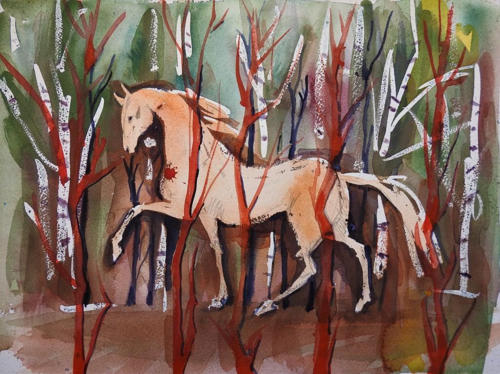 Aquarelle von Nadia Baumgart - Pferd im Zauberwald
