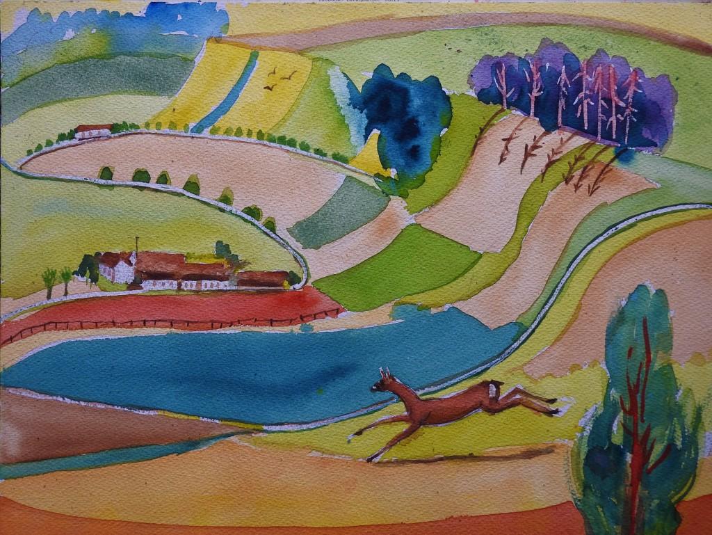 Rottaler Landschaft  - Aquarelle von Nadia Baumgart - Malerei