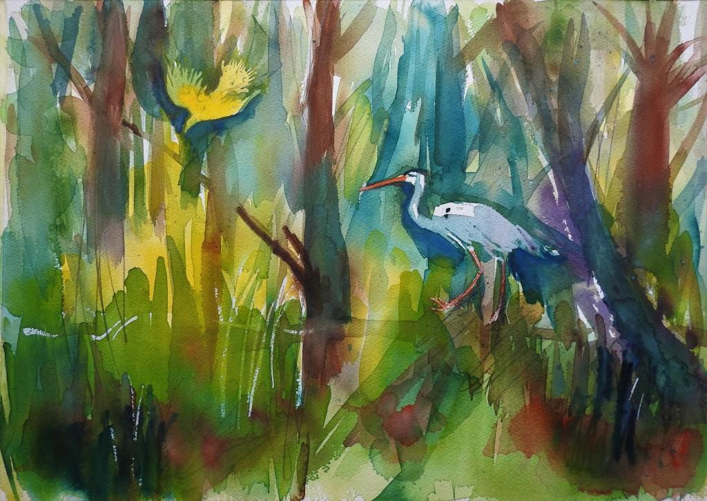 Aquarelle - Der Auwald an der Rott - Das wilde Eck