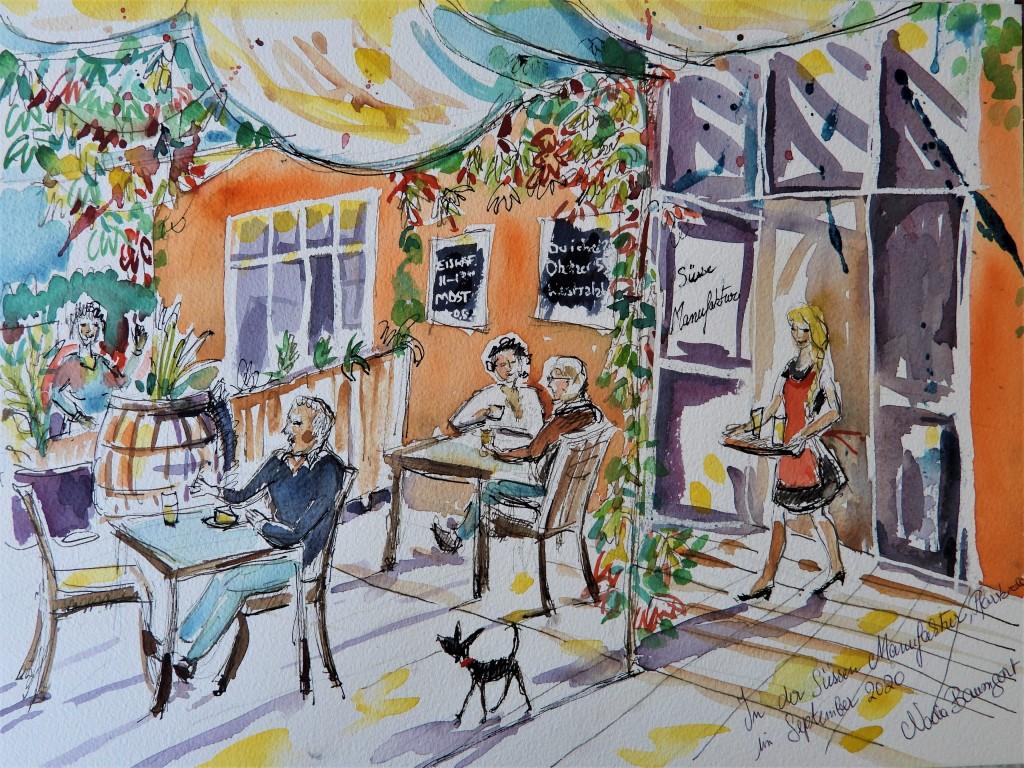 Aquarell eines Cafes in Pfarrkirchen in Niederbayern