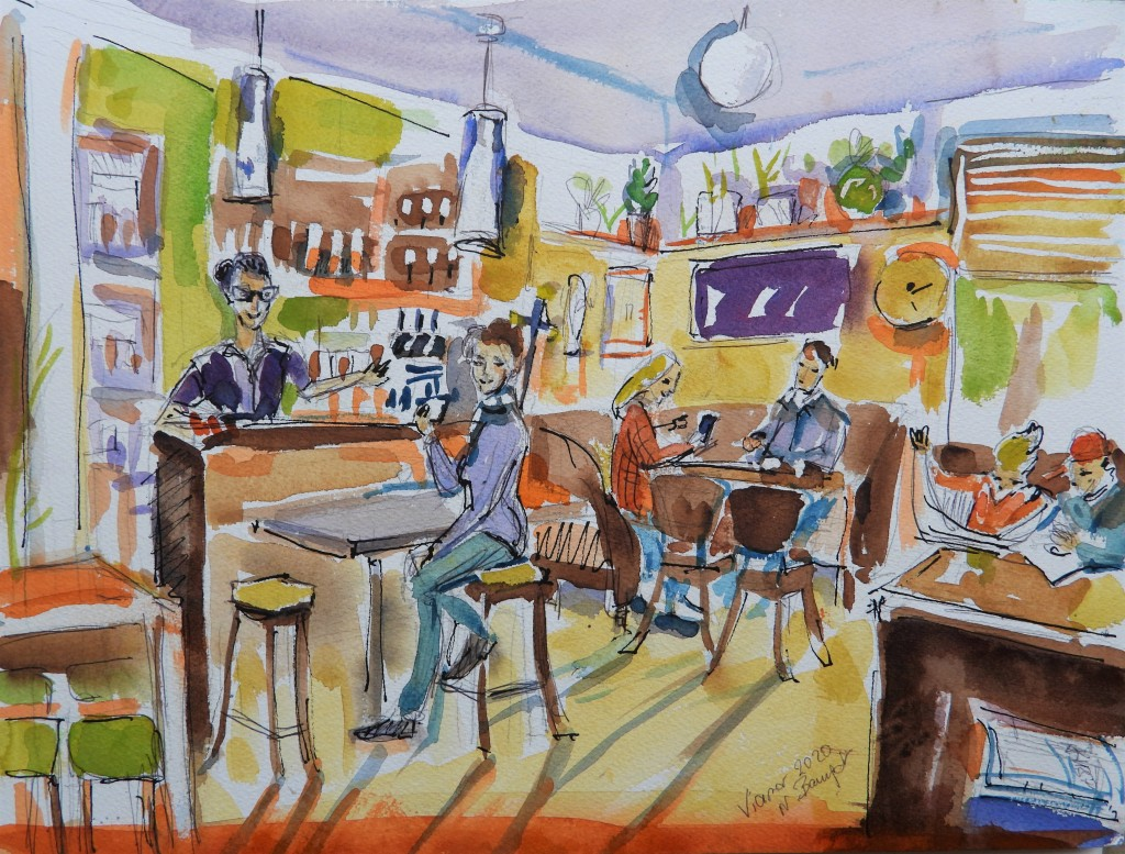 Cafe Viamar - Kaffehaus-Illustration