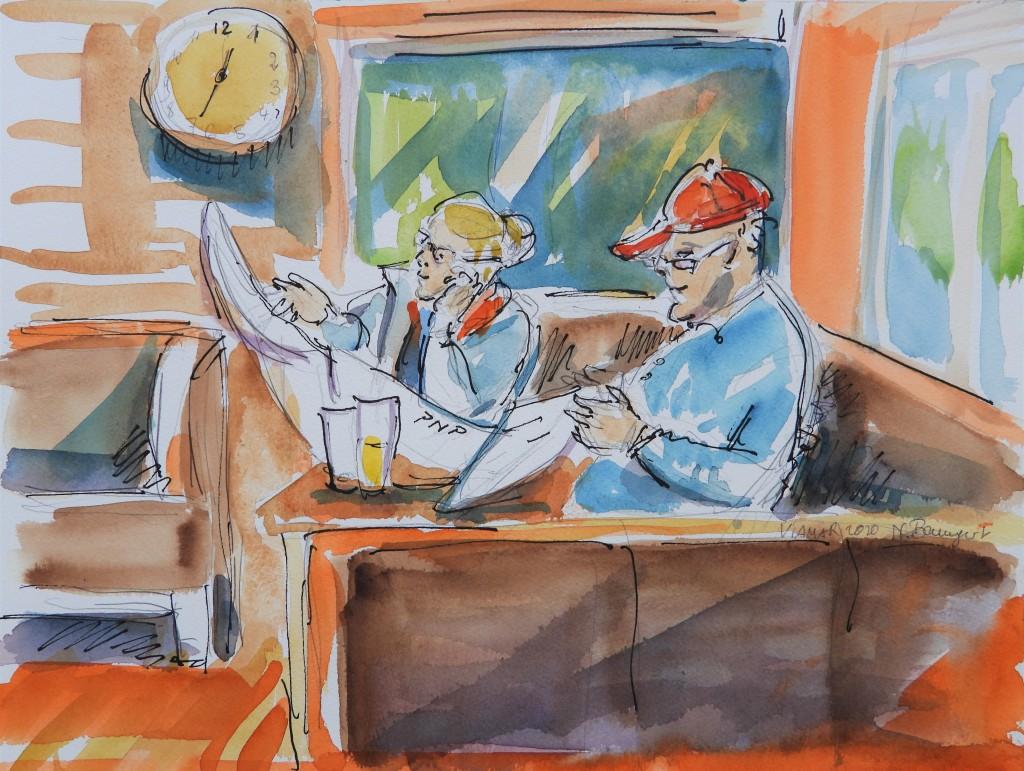 Im Café - Gäste mit Zeitung im Café