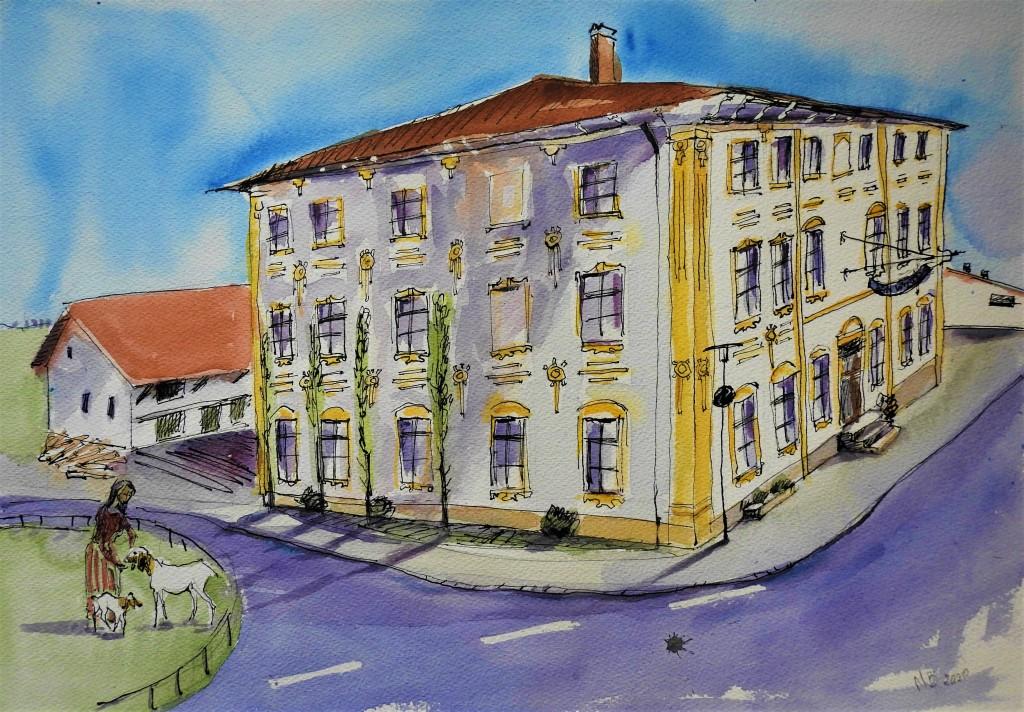 Gasthof Beim Wirt in Schwertling - Illustration Nadia Baumgart