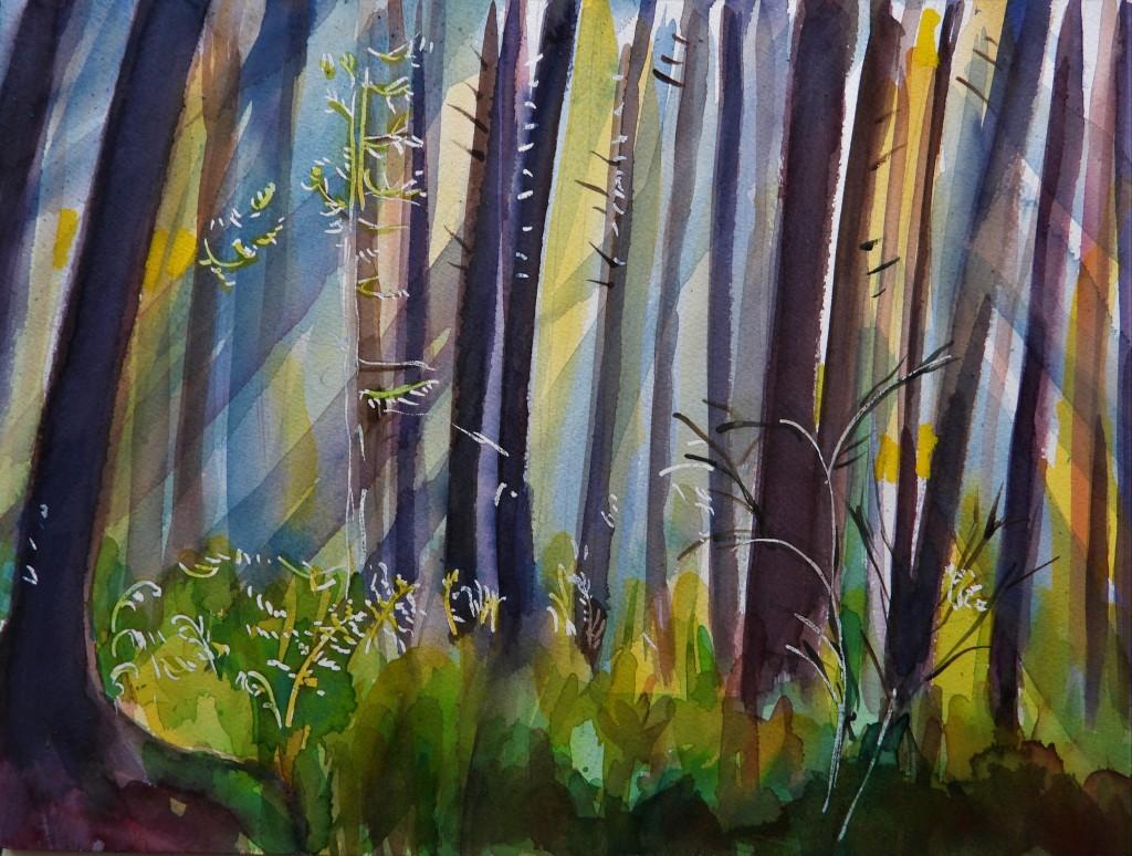 Der Wald im Aquarell