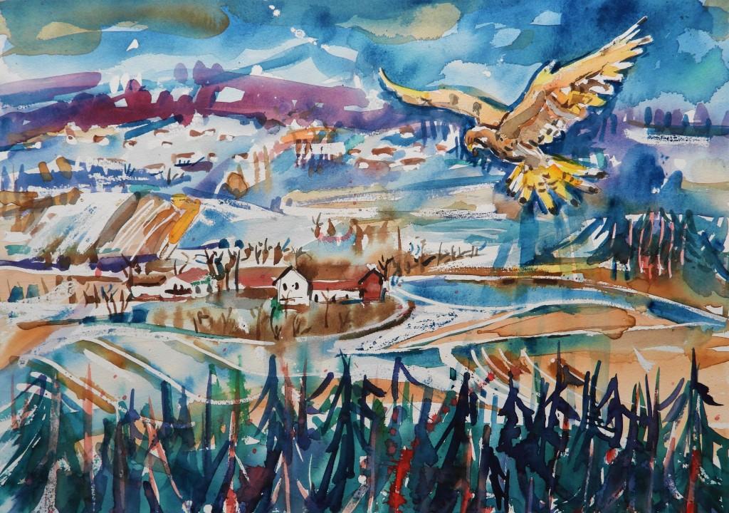 Landschaftsmalerei an Rott und Inn - Rottaler Landschaft mit Falken