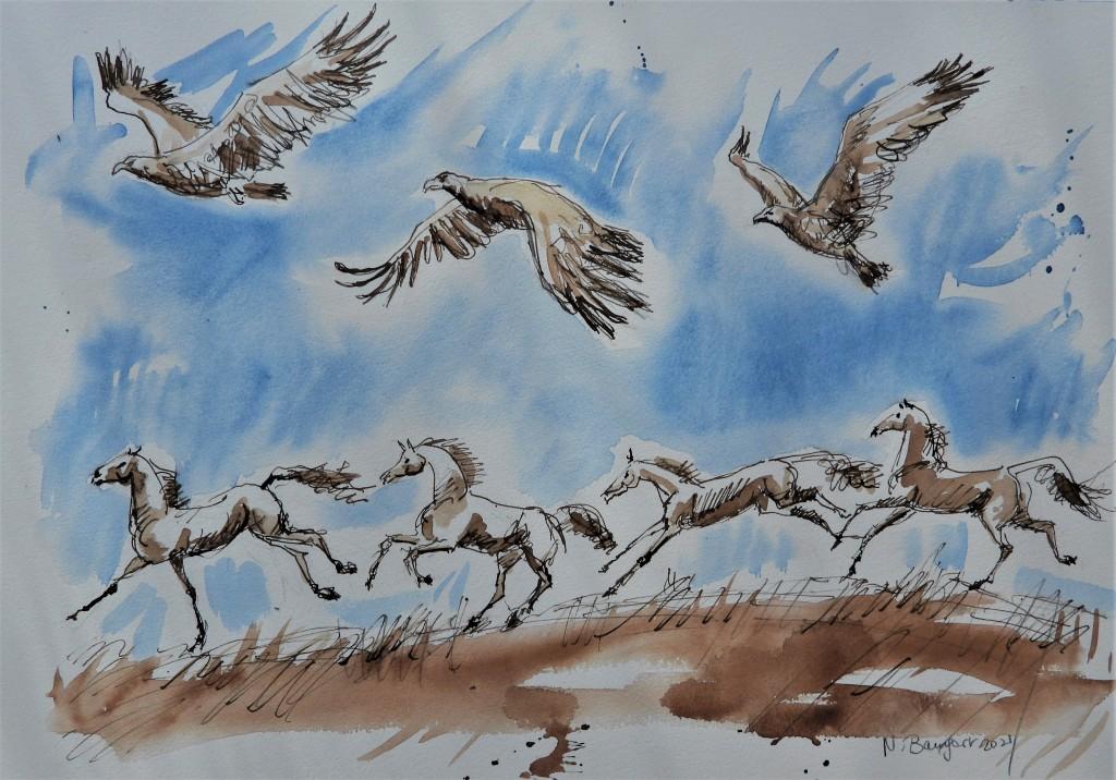 Tuschezeichnung mit Adlern und Pferden