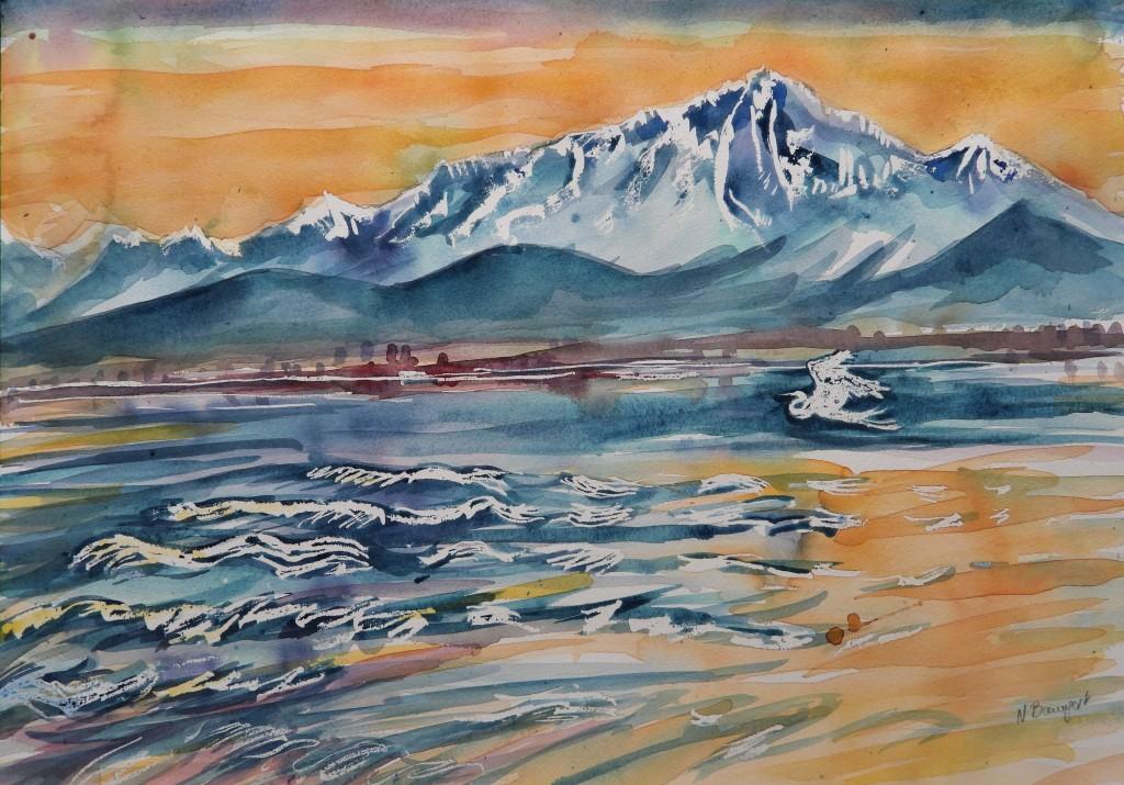 Aquarelle von Nadia Baumgart - Der Chiemsee