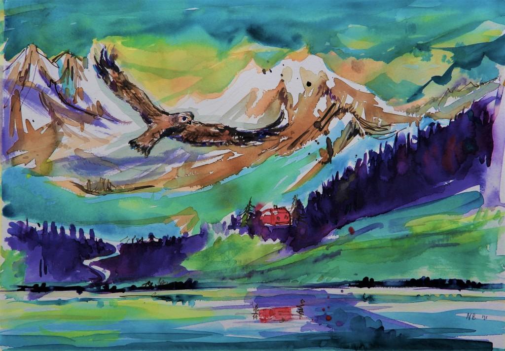 Alpenpanorama aquarelle