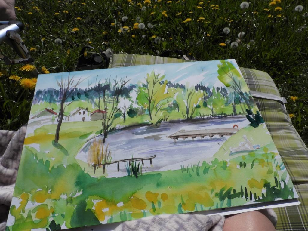 Plain-air-Malerei am Badesee - Aquarelle von Nadia Baumgart