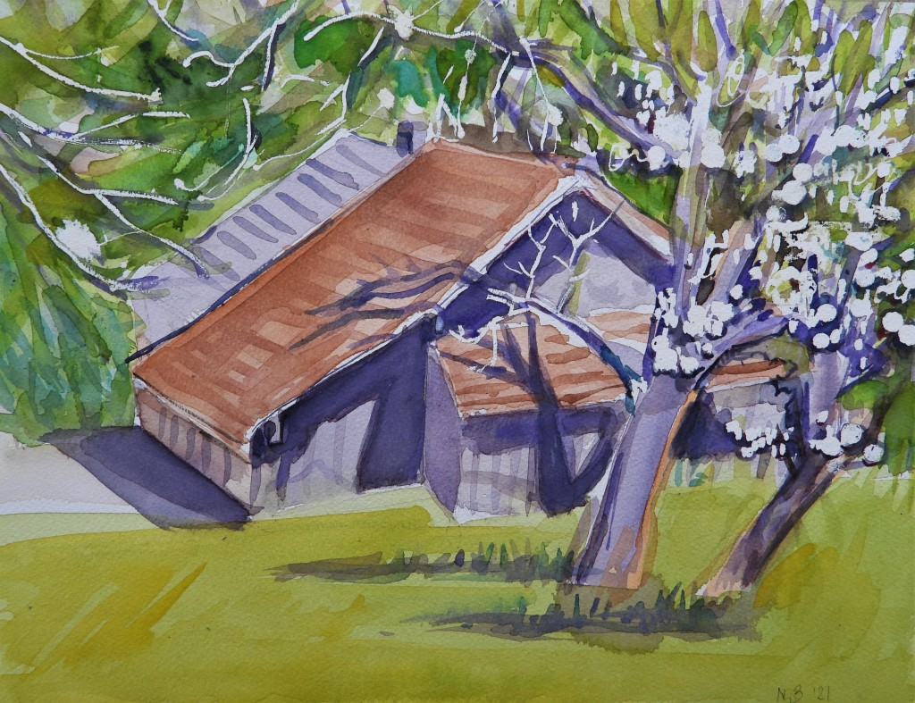 Blooming tree in May - Watercolour