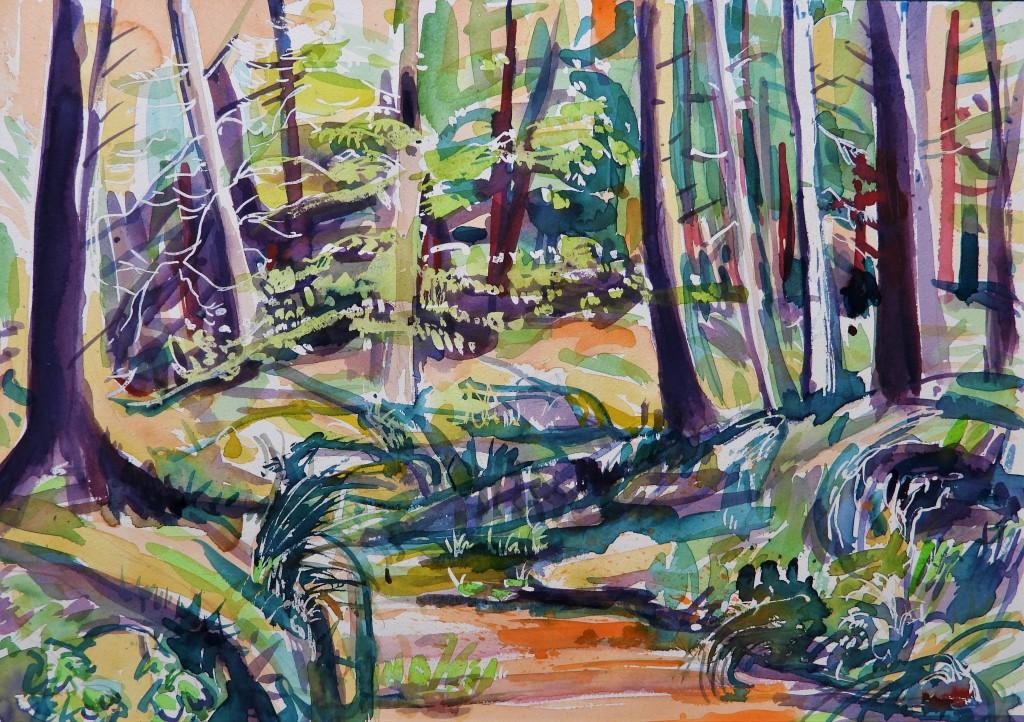 Rottaler Landschaft - bach - aquarelle
