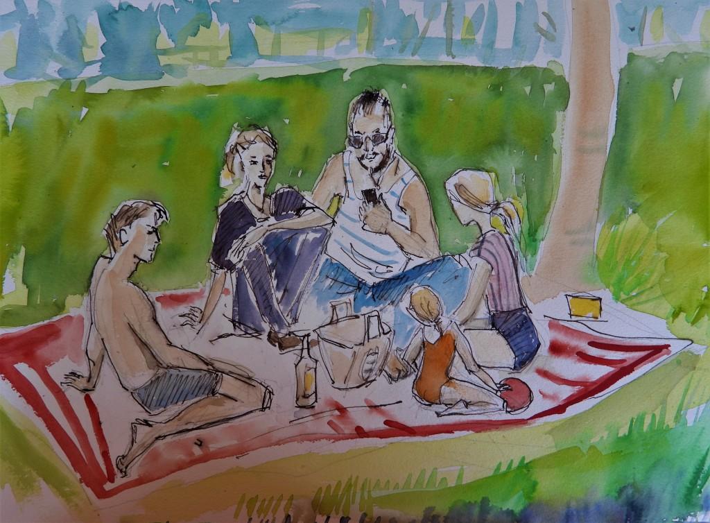 Picknick im Grünen am Badesee - Kunst von Nadia Baumgart