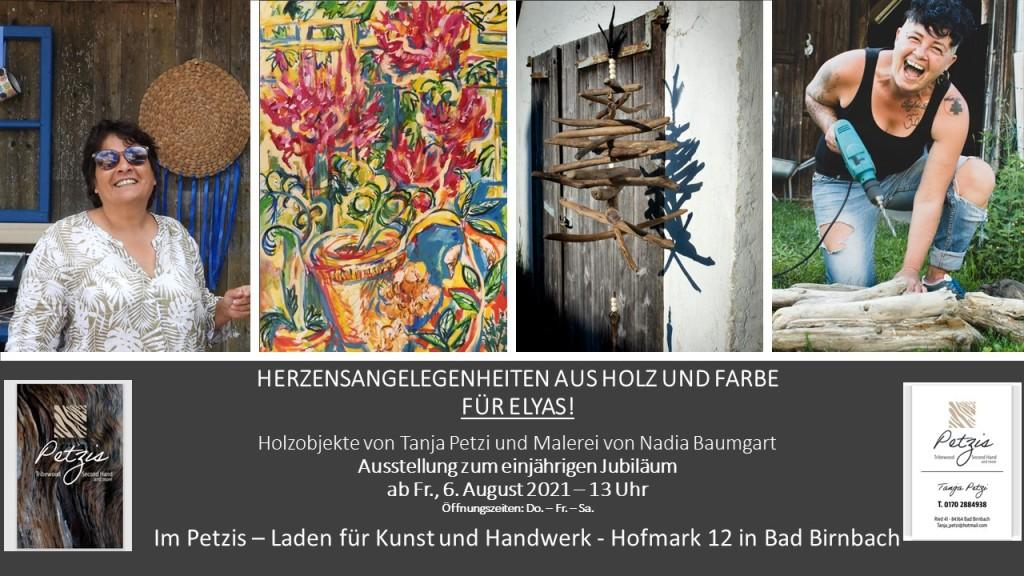 Kunst-Ausstellung bei Petzis in der Hofmark von Bad Birnbach - Malerei und Holzobjekte - Nadia Baumgart und Tanja Petzi
