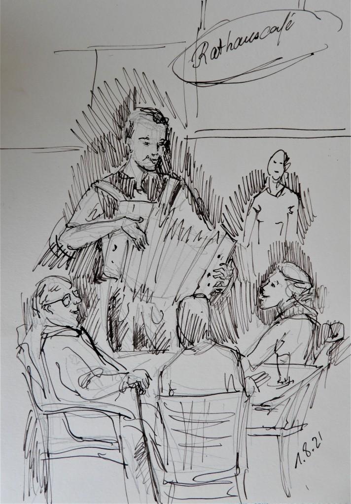Niederbayerische Volksmusik mit Maxi Ortner im Rathauscafé in Bad Birnbach - Tuschezeichnung