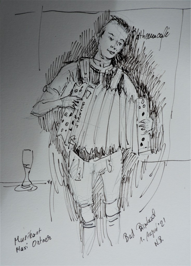 Drawing and music - Ink drawing from artist Nadia Baumgart: The musician