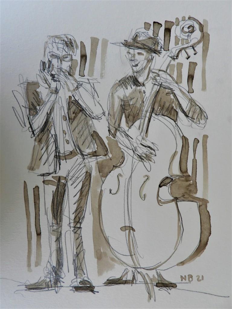 Zeichnungen von Musikern des Bairischen Kammersounds Eberwein