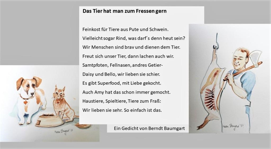 Illustriertes Gedicht über Tierfutter